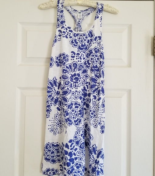 2e163f78988 Old Navy Dresses   White And Navy Floral Dress   Poshmark